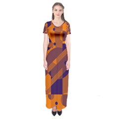 Orange and blue abstract design Short Sleeve Maxi Dress