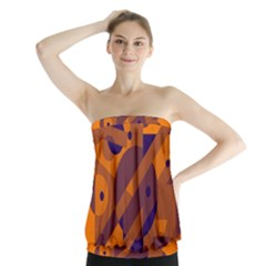 Orange and blue abstract design Strapless Top