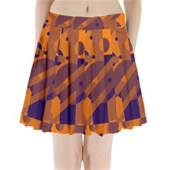 Orange and blue abstract design Pleated Mini Mesh Skirt
