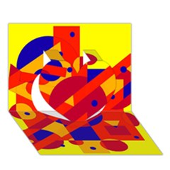 Colorful abstraction Heart 3D Greeting Card (7x5)