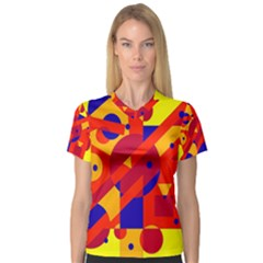 Colorful abstraction Women s V-Neck Sport Mesh Tee