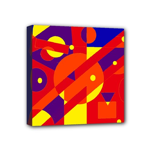 Blue and orange abstract design Mini Canvas 4  x 4
