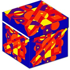 Blue and orange abstract design Storage Stool 12
