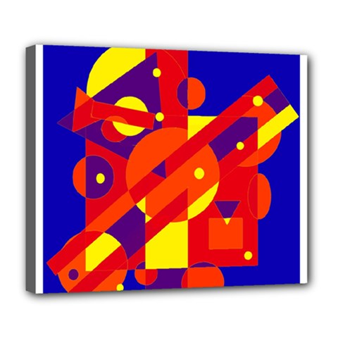 Blue and orange abstract design Deluxe Canvas 24  x 20