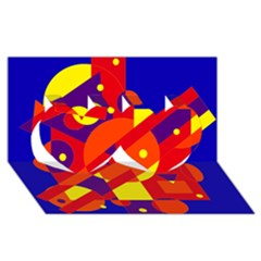 Blue and orange abstract design Twin Hearts 3D Greeting Card (8x4)