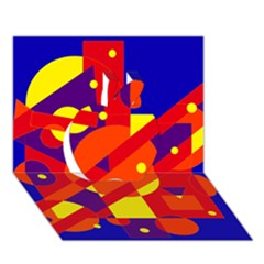 Blue and orange abstract design Apple 3D Greeting Card (7x5)