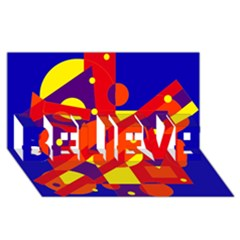 Blue and orange abstract design BELIEVE 3D Greeting Card (8x4)