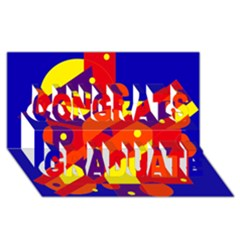 Blue and orange abstract design Congrats Graduate 3D Greeting Card (8x4)