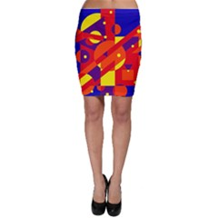 Blue and orange abstract design Bodycon Skirt