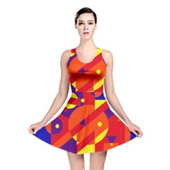 Blue and orange abstract design Reversible Skater Dress