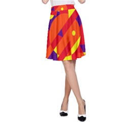 Blue and orange abstract design A-Line Skirt