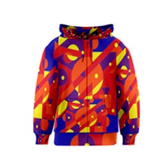 Blue And Orange Abstract Design Kids  Zipper Hoodie