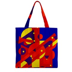 Blue and orange abstract design Zipper Grocery Tote Bag