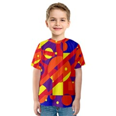 Blue and orange abstract design Kid s Sport Mesh Tee