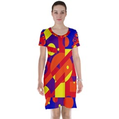Blue and orange abstract design Short Sleeve Nightdress