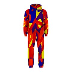 Blue and orange abstract design Hooded Jumpsuit (Kids)