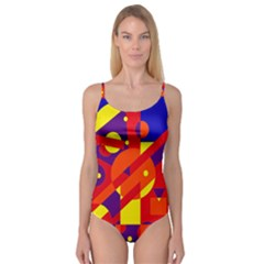 Blue And Orange Abstract Design Camisole Leotard