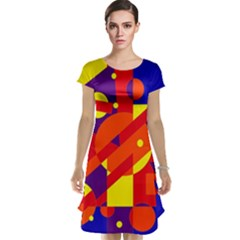 Blue and orange abstract design Cap Sleeve Nightdress