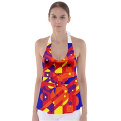 Blue and orange abstract design Babydoll Tankini Top