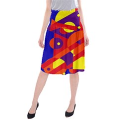 Blue And Orange Abstract Design Midi Beach Skirt