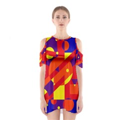 Blue and orange abstract design Cutout Shoulder Dress