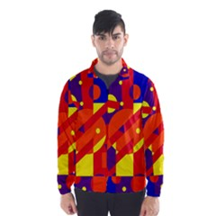 Blue and orange abstract design Wind Breaker (Men)