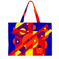 Blue and orange abstract design Zipper Large Tote Bag
