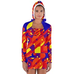 Blue and orange abstract design Women s Long Sleeve Hooded T-shirt