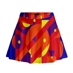 Blue And Orange Abstract Design Mini Flare Skirt