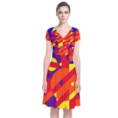 Blue and orange abstract design Short Sleeve Front Wrap Dress