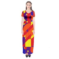 Blue and orange abstract design Short Sleeve Maxi Dress