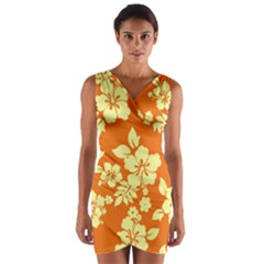 Sunny Hawaiian Wrap Front Bodycon Dress
