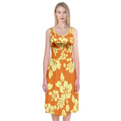 Sunny Hawaiian Midi Sleeveless Dress