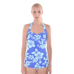 Hawaiian Sky Boyleg Halter Swimsuit
