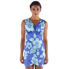 Hawaiian Sky Wrap Front Bodycon Dress