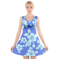 Hawaiian Sky V-Neck Sleeveless Skater Dress