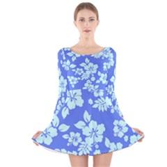Hawaiian Sky Long Sleeve Velvet Skater Dress