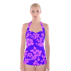 Hawaiian Evening Boyleg Halter Swimsuit