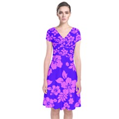 Hawaiian Evening Short Sleeve Front Wrap Dress