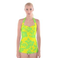 Bright Hawaiian Boyleg Halter Swimsuit