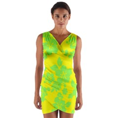 Bright Hawaiian Wrap Front Bodycon Dress