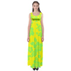 Bright Hawaiian Empire Waist Maxi Dress