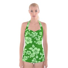 Green Hawaiian Boyleg Halter Swimsuit