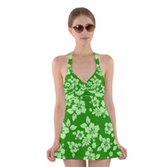 Green Hawaiian Halter Swimsuit Dress