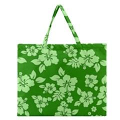 Green Hawaiian Zipper Large Tote Bag