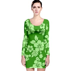 Green Hawaiian Long Sleeve Velvet Bodycon Dress