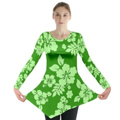 Green Hawaiian Long Sleeve Tunic