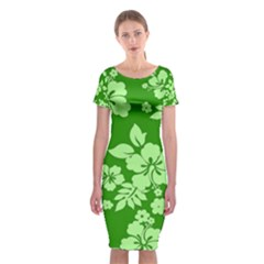 Green Hawaiian Classic Short Sleeve Midi Dress