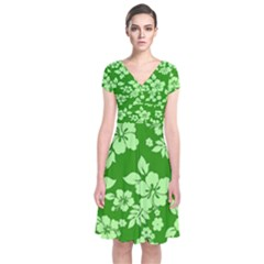 Green Hawaiian Short Sleeve Front Wrap Dress