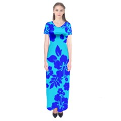 Hawaiian Ocean Short Sleeve Maxi Dress